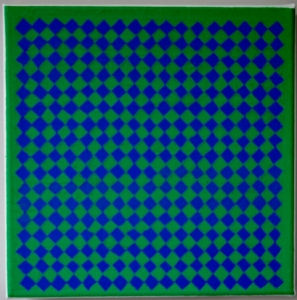 Andy Parkinson, Chequer (Green, Blue), 2014, acrylic and papier mache on canvas, 30cm x 30cm